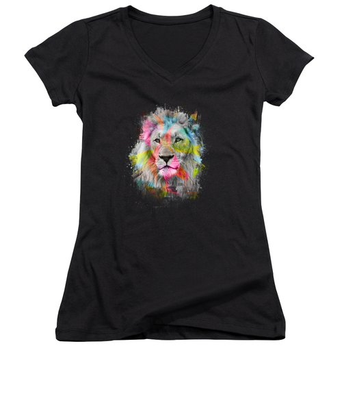 Majestic Male Lion Women's V-Neck (Athletic Fit)
