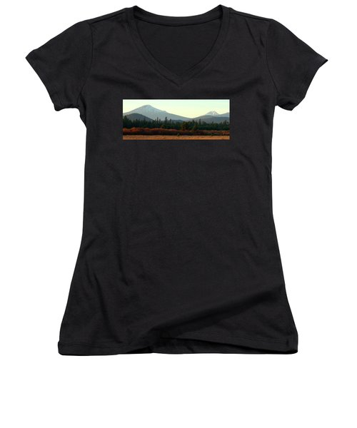 Majestic Mountains Women's V-Neck T-Shirt (Junior Cut) by Terry Holliday Giltner