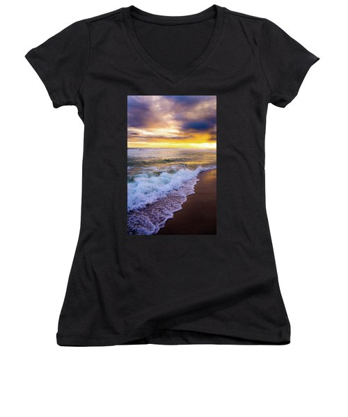 Women's V-Neck T-Shirt (Junior Cut) featuring the photograph Majestic Sunset In Paradise by Shelby Young