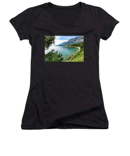 Makarska Riviera White Stone Beach, Dalmatian Coast, Croatia Women's V-Neck (Athletic Fit)