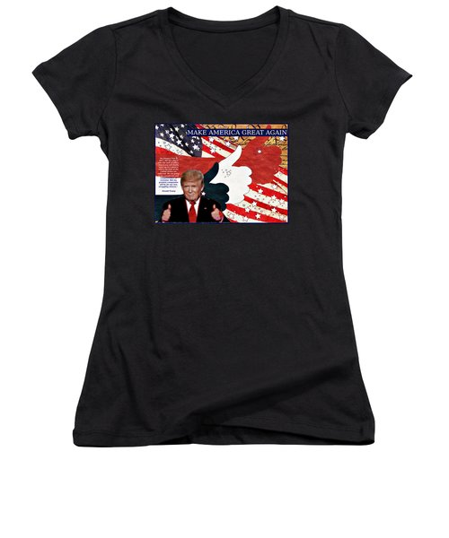 Women's V-Neck T-Shirt (Junior Cut) featuring the digital art Make America Great Again - President Donald Trump by Glenn McCarthy Art and Photography
