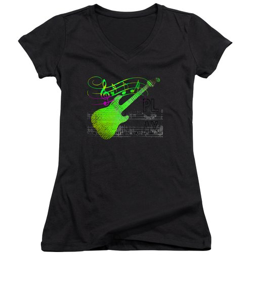Women's V-Neck (Athletic Fit) featuring the digital art Making Music by Guitar Wacky