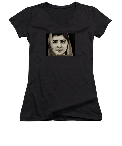 Women's V-Neck T-Shirt (Junior Cut) featuring the drawing Malala Yousafzai- Teen Hero by Michael Cross