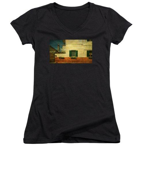 Malamocco Facade No1 Women's V-Neck T-Shirt (Junior Cut) by Anne Kotan