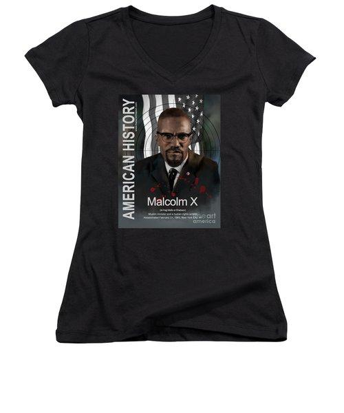 Malcolm X American History Women's V-Neck