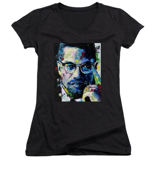 Malcolm X Women's V-Neck T-Shirt (Junior Cut) by Richard Day