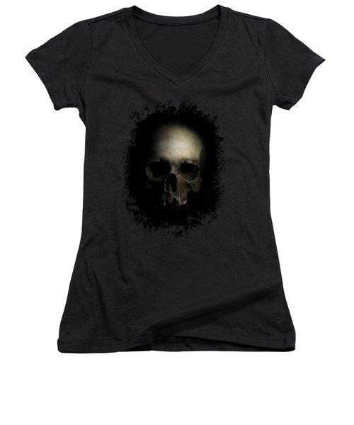 Male Skull Women's V-Neck T-Shirt (Junior Cut) by Jaroslaw Blaminsky