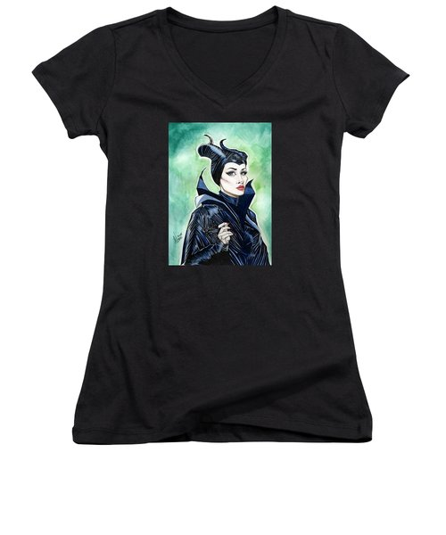 Maleficent Women's V-Neck T-Shirt (Junior Cut) by Jimmy Adams