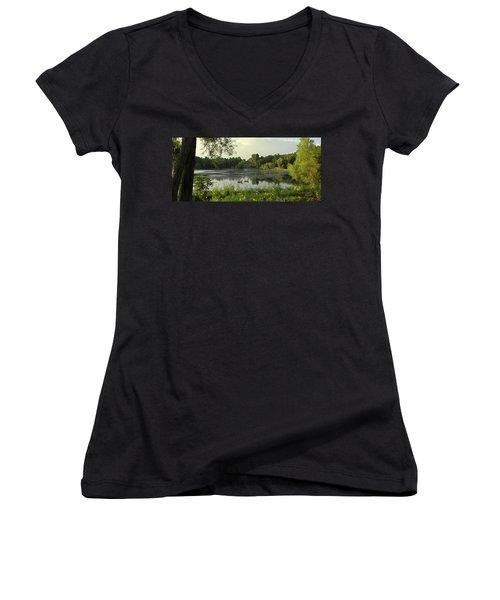 Mallards Lake II Women's V-Neck T-Shirt (Junior Cut) by Doug Kreuger