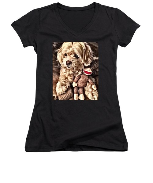 Maltipoo Love Women's V-Neck (Athletic Fit)