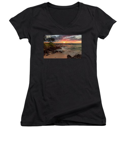Maluaka Beach Sunset Women's V-Neck