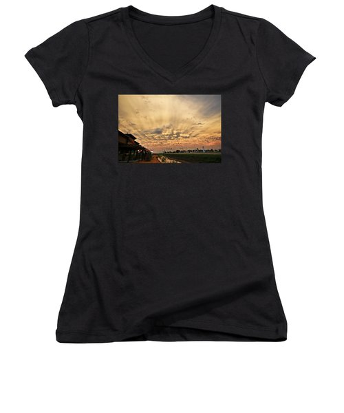 Women's V-Neck T-Shirt (Junior Cut) featuring the photograph Mammatus Over Yorkton Sk by Ryan Crouse