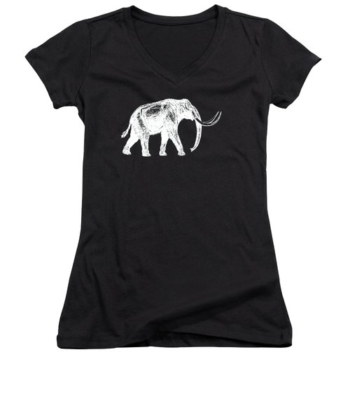 Mammoth White Ink Tee Women's V-Neck T-Shirt (Junior Cut) by Edward Fielding