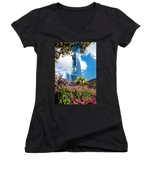 Man And Nature Women's V-Neck T-Shirt (Junior Cut) by Greg Fortier