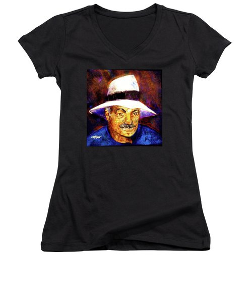 Man In The Panama Hat Women's V-Neck (Athletic Fit)