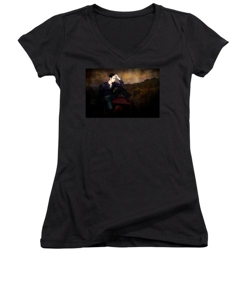 Man On A Bench Women's V-Neck T-Shirt (Junior Cut) by Jeff Burgess