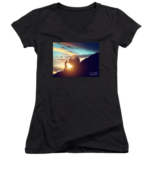 Man Rolling Huge Concrete Ball Up Hill Women's V-Neck (Athletic Fit)