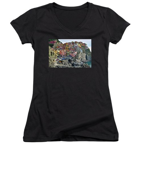 Women's V-Neck T-Shirt (Junior Cut) featuring the photograph Manarola Cinque Terre Italy by Frozen in Time Fine Art Photography