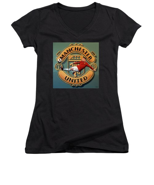 Manchester United Painting Women's V-Neck T-Shirt (Junior Cut) by Paul Meijering