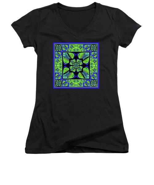 Mandala #22 Women's V-Neck T-Shirt (Junior Cut) by Loko Suederdiek