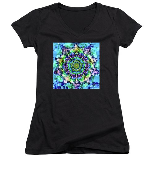 Mandala Art 1 Women's V-Neck T-Shirt (Junior Cut) by Patricia Lintner