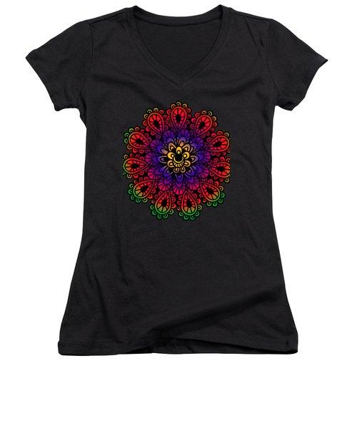 Mandala By Lamplight Women's V-Neck (Athletic Fit)