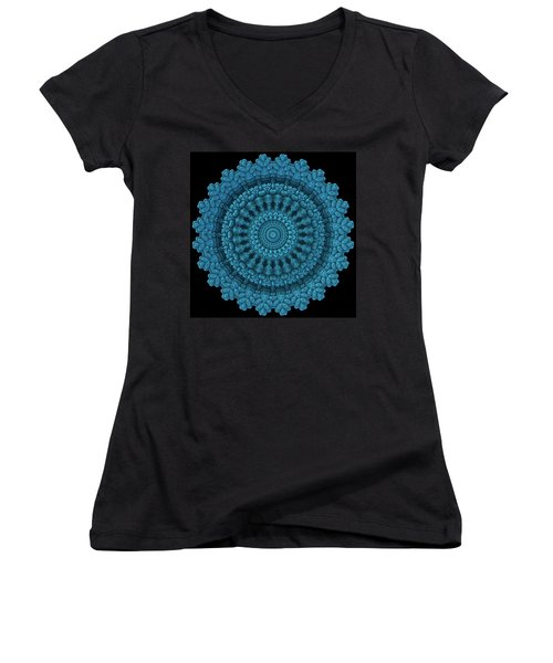Women's V-Neck T-Shirt (Junior Cut) featuring the digital art Mandala For The Masses by Lyle Hatch
