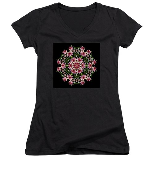 Women's V-Neck T-Shirt (Junior Cut) featuring the photograph Mandala Monadala  Lisa by Nancy Griswold