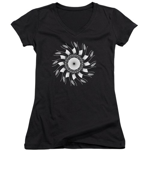 Women's V-Neck T-Shirt featuring the digital art Mandala White And Black by Linda Lees
