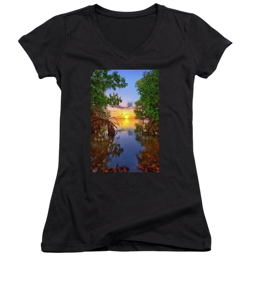 Mangrove Sunset From Jensen Beach Florida Women's V-Neck