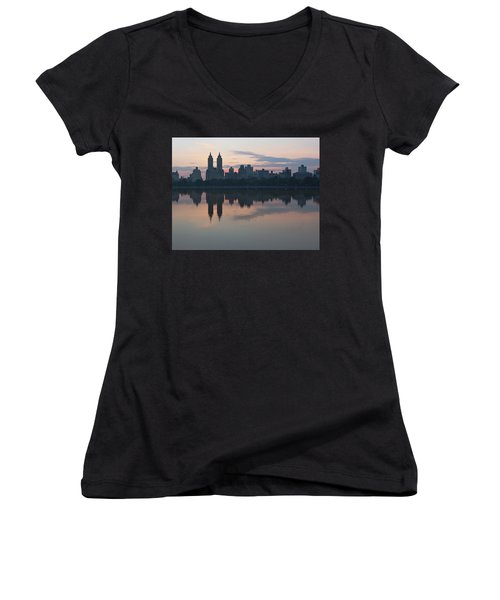 Manhattan At Night  Women's V-Neck T-Shirt (Junior Cut) by Yvonne Wright