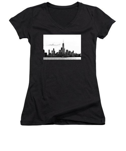 Manhattan Skyline No. 17-2 Women's V-Neck T-Shirt
