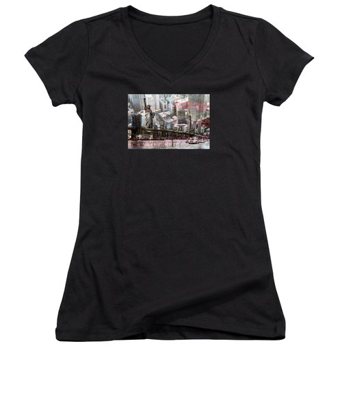 Women's V-Neck T-Shirt (Junior Cut) featuring the photograph Manhatten From Above by Hannes Cmarits