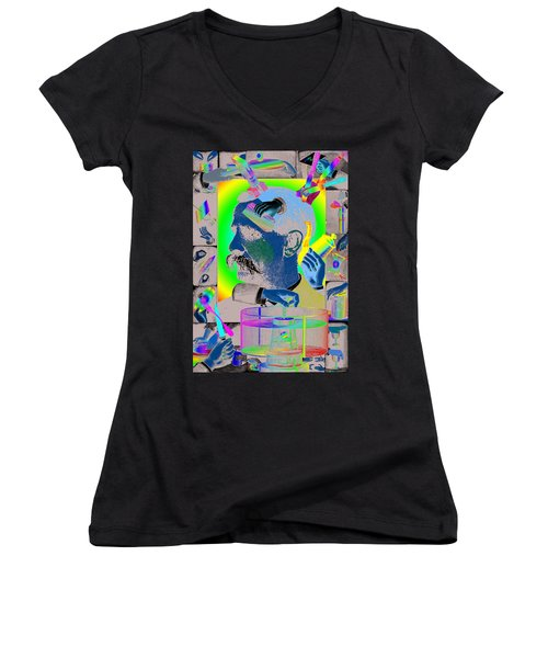 Manipulation Women's V-Neck T-Shirt (Junior Cut) by Eric Edelman