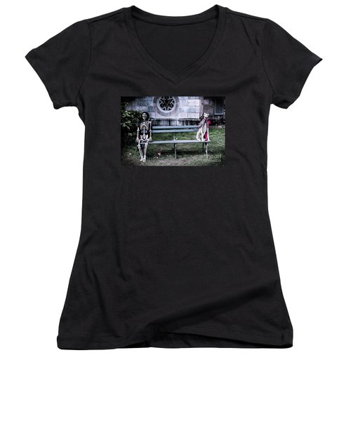 Women's V-Neck T-Shirt (Junior Cut) featuring the photograph Man's Best Friend Till The End by Colleen Kammerer