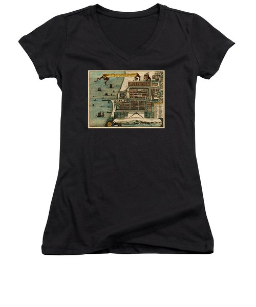 Map Of Java 1669 Women's V-Neck T-Shirt (Junior Cut) by Andrew Fare