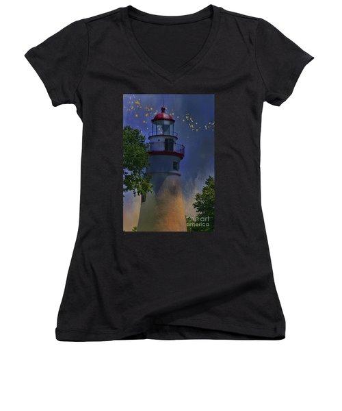Marblehead In Starlight Women's V-Neck T-Shirt (Junior Cut) by Joan Bertucci