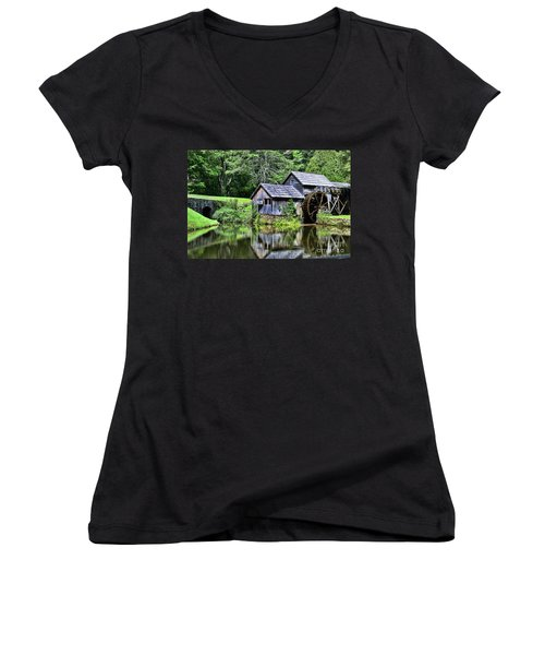 Women's V-Neck T-Shirt (Junior Cut) featuring the photograph Marby Mill 3 by Paul Ward