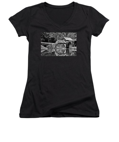 Marby Mill In Black And White Women's V-Neck T-Shirt (Junior Cut) by Paul Ward