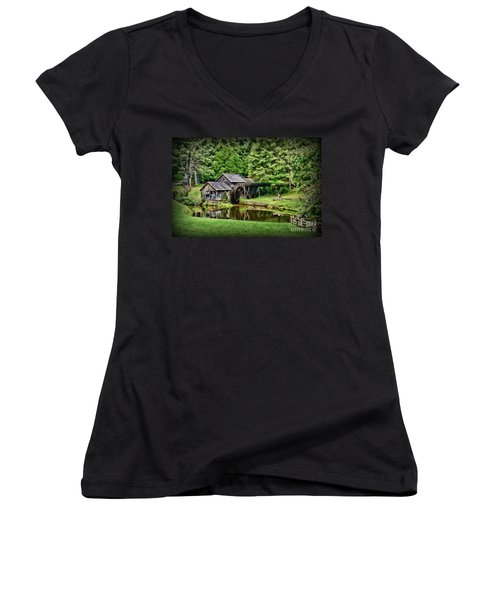 Women's V-Neck T-Shirt (Junior Cut) featuring the photograph Marby Mill Landscape by Paul Ward