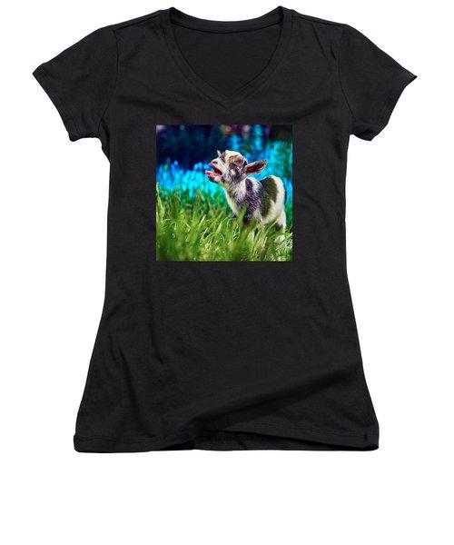 Baby Goat Kid Singing Women's V-Neck T-Shirt (Junior Cut) by TC Morgan