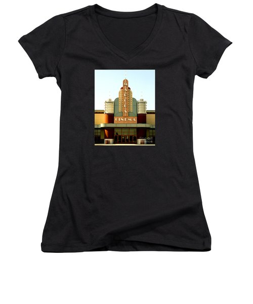 Women's V-Neck T-Shirt (Junior Cut) featuring the photograph Marcus Renaissance Cinema, Racine Wisconsin  by Ricky L Jones