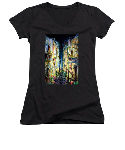 Women's V-Neck T-Shirt (Junior Cut) featuring the painting Mardi Gras by Heather Calderon