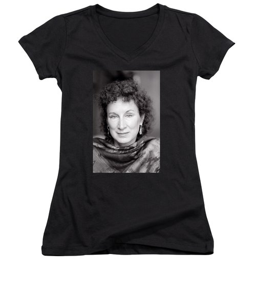 Margaret Atwood Women's V-Neck T-Shirt (Junior Cut) by Shaun Higson