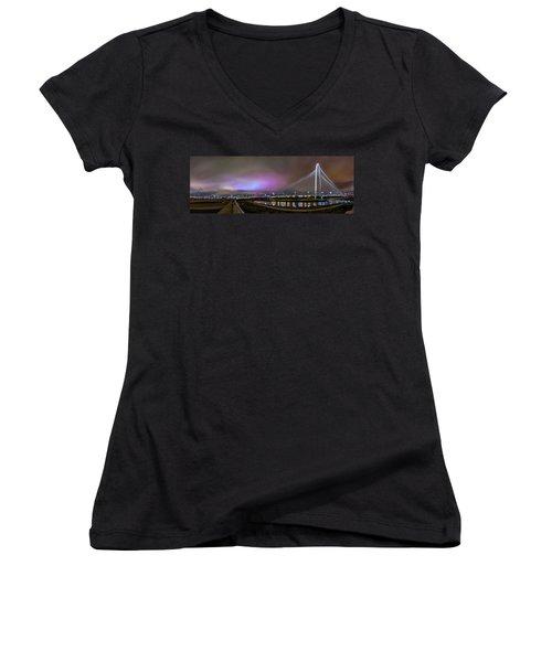 Margaret Hunt Hill Bridge - Dallas Texas Women's V-Neck T-Shirt (Junior Cut) by Micah Goff