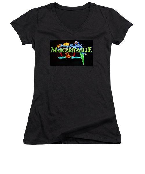 Margaritaville Neon Women's V-Neck (Athletic Fit)