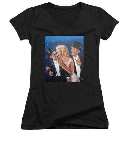 Marilyn Monroe Marries Charlie Mccarthy Women's V-Neck (Athletic Fit)