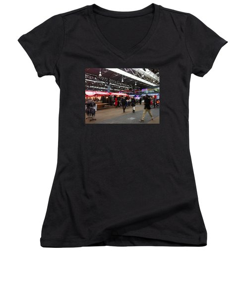 Women's V-Neck T-Shirt (Junior Cut) featuring the photograph Market Movement by Christin Brodie