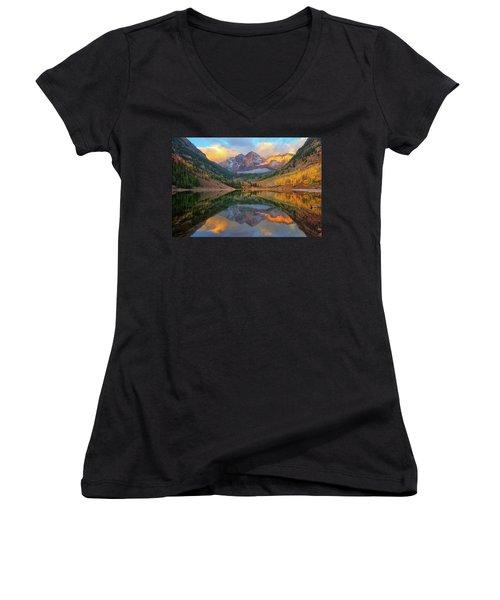 Maroon Bells Autumn Reflections Women's V-Neck T-Shirt (Junior Cut) by Greg Norrell
