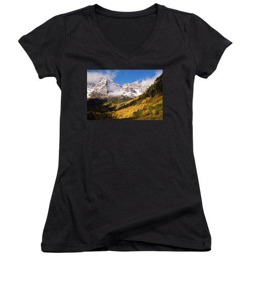 Women's V-Neck T-Shirt (Junior Cut) featuring the photograph Maroon Bells by Steve Stuller